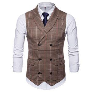 2019 Nuovo Amazon primavera autunno vendita calda degli uomini Groom Vest Plaid a doppio petto Casual Gilet uomo Plaid Suit Vest