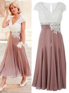 Chá Elegante Comprimento Mãe da Noiva Noivo Vestidos Branco Rosa Rosa Chiffon Chiffon Applique Real Photo Noite Vestidos formais Plus Size