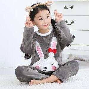 Inverno Crianças Velo pijamas Thicken Quente flanela Pijamas Meninas Loungewear Coral Fleece Crianças Pijama Boy Pant Long Boy presente Y200328