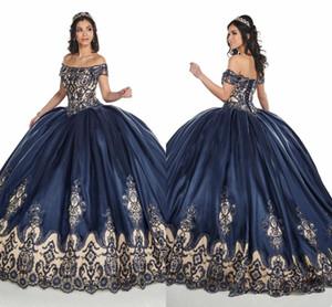2020 Bleu marine nue épaules bal Quinceanera 3D Floral Applique dentelle perlée Corset Retour douce 16 robe de bal Robes De