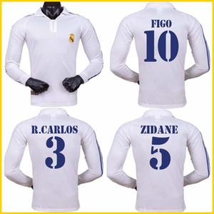 2001 2002 레알 마드리드 홈 롱스레브 축구 저지 지단 피고 히에로라울 모리엔테스 클래식 레트로 풋볼 셔츠 빈티지 저지