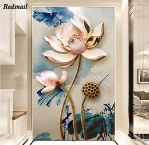 Large Diy Diamond Painting Lotus flowers dragonfly Cross-stitch Mosaic 5d full diamond embroidery Home Decor puzzle EE1216