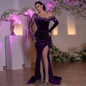 Арабский Дубай Русалка Вечерние платья с кружевом аппликация Pleats одно плечо Velvet платье Side Split Плюс размер платья халат-де-вечер