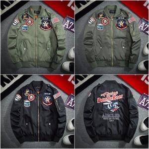 Мужская одежда Мода Pilot Jacket Бежевый Zip Tops Air Force One Геометрический рисунок Ретро Большой размер Army Green Топы Очень большой размер S-XXXL