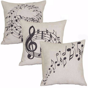 Square Music notes Melody Linge Throw Taie taille de boîtier de coussin
