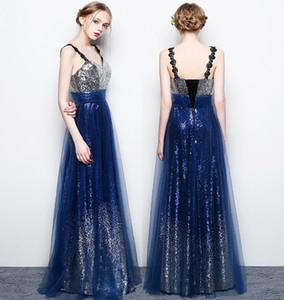Partido de la estrella de la elegancia por encargo 2020 vestidos de noche vestidos de baile Sexy Party V-cuello halter de la correa larga de las lentejuelas