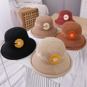 Los niños lindo estupendo del bebé adorable pequeña margarita Pescador sombrero de paja a-Year-Old primavera y verano finos de verano estilo de la universidad Sun-re