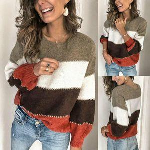 La moda de Nueva Otoño Invierno suéter de punto para las mujeres de manga larga del O-cuello floja ocasional Oficina Sexy Ladies suéteres del suéter