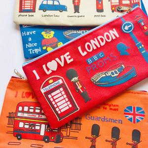 Kawaii Londra Asker Tuval Kalem Kalem Çanta Tutucu Aşk Depolama Öğrenci Kırtasiye