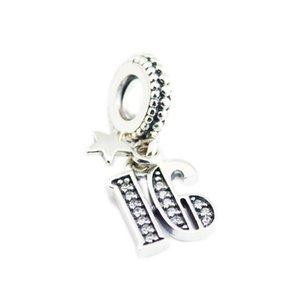 Nouveau 100% réel argent 925 Charm 16 ans d'amour Pave cristal Dangle Charm Pendentif Perles Fit Bracelet européenne Diy Faire des bijoux