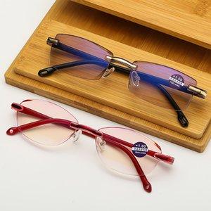 VIVIBEE 2019 Men Rimless Red Frame Thin Reading Glasses +3 +2 +1 Anti Blueray Old Prescription Glasses for Women -1.25