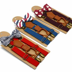 1 set Children Fashion Solid Color Strap Clip Printed Bowknot Tie Set Elastic Hanging Pants Clip Toddler Wedding Matching