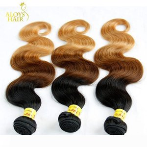 Ombre Malaysian Body Wave Human Hair Extensions Three Tone 1b 4 27# Brown Blonde Grade 8A Ombre Malaysian Virgin Hair Weave Bundles 3Pcs