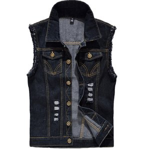 Denim Vest Mens Sleeveless Jackets Fashion Washed Jeans Waistcoat For Mens Tank Top Cowboy Male Ripped Jacket Plus Size 6XL