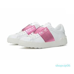 los hombres de las mujeres zapatos de plataforma Venta-gner calientes del remache de la astilla Negro Verde Rosa de cuero franja número de calzado informal 35-46