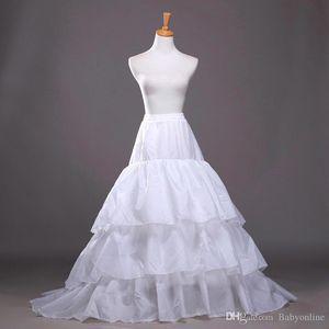 Haute Qualité 2019 Nouveau Une ligne Plus Size crinoline mariée 3 Hoop Jupon Pour Robe de mariée jupe Accessoires de mariage Slip avec le train CPA207