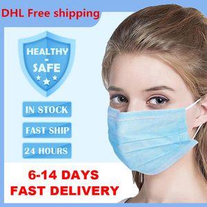 Jetable Masque 3 couches Masques de protection du visage Anti-poussière couverture Masques anti-poussière Masque jetable Salon Earloop Bouche Free Party DHL