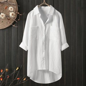 CHAMSGEND Vintage Tops And Blouses Women Casual Cotton Linen Blouse Long Sleeve Button Down Shirts Blusas Mujer De Moda 2020 F73