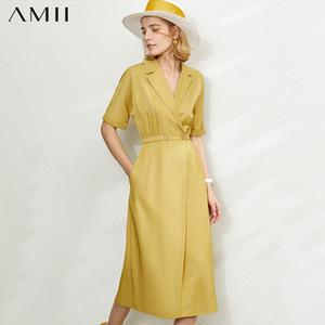 Amii minimalismo primavera estate moda risvolto solido donne vestito causale vita elastica a mezza manica a vitello lunghezza abito femminile 12020076