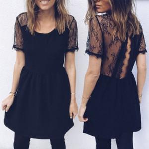 Sonbahar Kadınlar Yaz Boho Backless Kolsuz Akşam Siyah Dantel Elbise İnce Plaj Mini Elbise