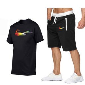 2020 Yaz Erkek 2 Parça Setler Kısa Kollu Tracksuits Streetwear Günlük Spor Komik Tişört + Şort Erkek Takım Elbise Giyim Yüksek Kalite Suit