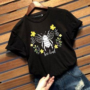 Fashion Unisex Bee Kind Printing T-Shirt Casual Graphic Tee Shirt Top Loose Short Sleeve Crew Neck Tshirts
