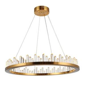 Краткий дизайн Золотая хрустальная люстра нержавеющая сталь лампа из нержавеющей стали AC110V 220V Luster LED столовая комната гостиная висит огни