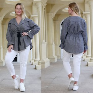 Temperament Womens Drawstring Blouse Solid Color Bell Sleeve Womens V Neck Shirts Plus Size Womens Casual Tops