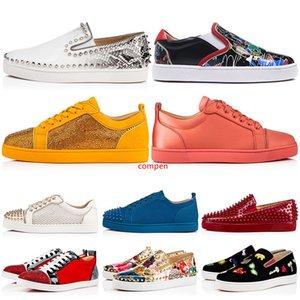 Новый дизайнерский бренд Шипы Шипованные Flat Повседневная обувь Low Cut Mens женщин s Заклепки Открытый кроссовки 35-47