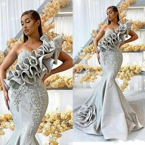 2020 New Silver One Shoulder Evening Dresses Long Lace Appliqued Mermaid Prom Dress Luxury Beaded Ruffles Formal Party Gowns