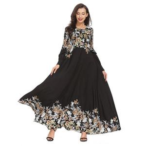 vestito lungo abaya Casual donna vestito musulmano musulmano allentato solido Colore Robe Abbigliamento Abaya arabo islamico Kaftan Dubai T410