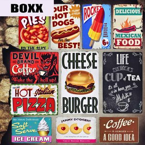 Italiano Inscreva Pizza metal Vintage Placas Kitchen Cafe decorativas mexicana Pie Food Stickers Ketchup parede do metal Poster Decor MN74