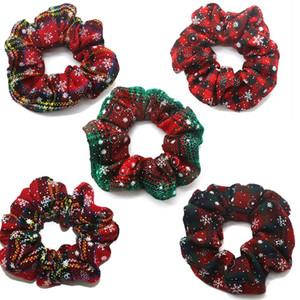 Bandas Anillo Scrunchy navidad pelo de la muchacha pelo elástico del copo de la tela escocesa roja Intestino grueso Sports Danza de Scrunchie suave Hairband