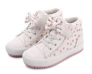 Enfants PU Chaussures En Cuir Filles Baskets Haut Haut Polka Dot Arc Respirant Filles Bottes 2019 New Winter Mode Enfants Casual Chaussures