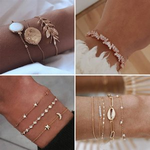 Diseño mixto Moon Star Shell Turtle Feather Love Crystal Charm Pulseras para las mujeres Boho Cuff Bangle Bracelet Jewelry Wholesale