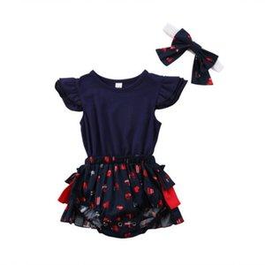 Neonata appena nata senza maniche floreale pagliaccetto prendisole tuta vestiti delle ragazze del bambino principessa Lace Tutu pagliaccetti vestiti 2Pcs Set