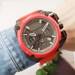 Lüks erkekler büyük kadran kırmızı kayış modacı çok fonksiyonlu izlemek kuvars hareketi tüm çevir çalışma spor militry montre de luxe saatler