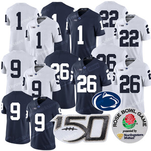 Penn State Nittany Лев KJ Hamler Джерси Ta'Quan Roberson 26 Saquon Джо Патерно Трассировка Максорли NCAA патч 150-трикотажные изделия футбола