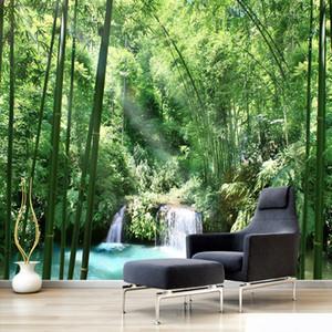 Personalizzato 3D per pareti Carta da parati Bamboo Forest Landscape Natural Art Design pittura murale Soggiorno casa Carta da parati decorazione