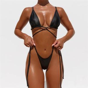 Lentejuelas Dos piezas de traje de baño Nuevo estilo de verano para mujer Bikini 2020 Mujeres Diseñador Swimsuits Forme Sexy PU Sólido Color