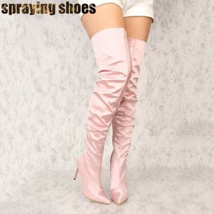 Sexy Blush Satin Slouchy Thigh High Boots Women Pointy Toe Over The Knee High Heel Boots Ladies Party Shoes Winter Woman
