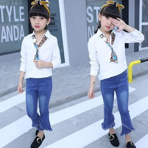 2020 Autumn clothing children's girls tassel denim Bell jeans and jeans horn pants medium and large children's denim pants 12