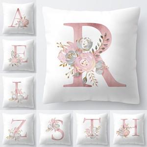 Lettre Taie d'oreiller 45x45cm Chambre alphabet anglais pour la maison canapé-lit Coussin décoratif Couverture fleur Taie Polyester