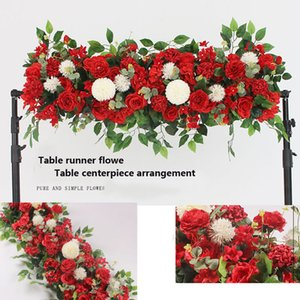 SPR DIY wedding flower wall arrangement supplies silk peonies rose artificial flower row decor wedding iron arch backdrop