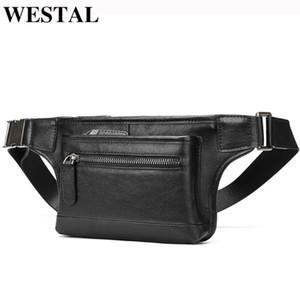 saco da cintura de couro genuíno pochete masculino dos homens Westal para homens cinto saco homens hip pacotes de espera casuais bolsas masculinas de couro 7285