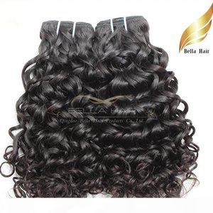 Bella Hair? Brazilian Hair Bundles Unprocessed Human Hair Extensions Natural Black Color 2pcs Lot 8A Water Wave Hair Weaves Weft