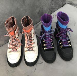 2019 Kış Kadın lüks soba borusu Çorap Çizme Star Print Elastik İnce Bacak Tığ Boot Lady Yün Patik