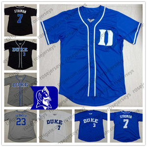 Custom Duke Blue Devils Бейсбол Любое число Имя Белый Серый Черный # 7 Маркус Строман 23 Майкл Сеандер 3 Крис Крэбтри Мужчины Молодежный Джерси