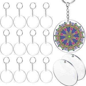 Acrylic Key Chain Blank, Diameter 30 Pieces 5.08 Cm Round Acrylic Transparent Disc, 30 Metal Separation Key Chain Ring