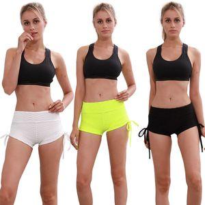 3 pcsSport Yoga Shorts Respirável Correndo Calças Curtas de Fitness Cordão Praia Elástica Mulheres Calças Sexy Jogging Pantalon Corto C19041101
